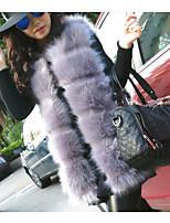cheap -Women's Casual/Daily Simple Winter Vest,Solid Asymmetrical Long Sleeves Regular Fox Fur