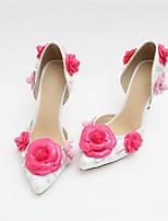 preiswerte -Damen Schuhe PU Frühling Herbst Komfort High Heels Stöckelabsatz Geschlossene Spitze für Normal Draussen Weiß