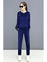 cheap -Women's Casual/Daily Simple Fall Hoodie Pant Suits,Solid Round Neck Long Sleeves Polyester