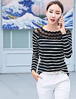 preiswerte -Damen Solide Freizeit Festtage T-shirt,Rundhalsausschnitt Frühling Langärmelige Baumwolle