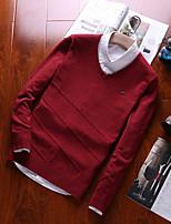 preiswerte -Herren Kurz Pullover-Alltag Freizeit Solide Hemdkragen Langarm Polyester Winter Herbst Undurchsichtig Mikro-elastisch