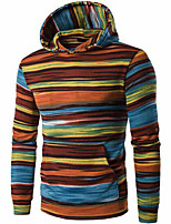 cheap -Men's Petite Daily Casual Hoodie Striped Hooded Fleece Lining Micro-elastic Polyester Long Sleeve Winter Fall/Autumn