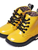 Недорогие -Девочки обувь Полиуретан Зима Осень Удобная обувь Армейские ботинки Ботинки Ботинки для Повседневные Черный Желтый Персиковый Синий
