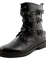 Недорогие -обувь Искусственное волокно Весна Осень Модная обувь Ботинки Сапоги до середины икры Заклепки для Повседневные Черный
