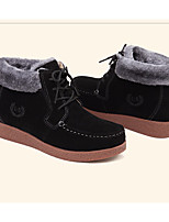 cheap -Women's Shoes Nubuck leather Winter Fall Comfort Combat Boots Boots Flat Heel Booties/Ankle Boots for Casual Black Fuchsia Brown
