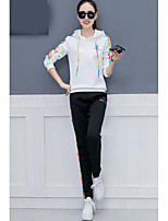 cheap -Women's Casual/Daily Simple Fall Hoodie Pant Suits,Embroidery Hooded Long Sleeves Cotton Polyester