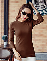 cheap -Women's Daily Casual T-shirt,Solid Round Neck Long Sleeve Polyester