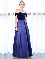 cheap -Sheath / Column Off-the-shoulder Velvet Satin Chiffon Formal Evening Dress with by Embroidered Bridal