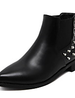 cheap -Women's Shoes PU Spring Fall Comfort Bootie Boots Chunky Heel for Casual Black