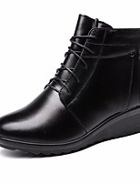 cheap -Women's Shoes Cowhide Winter Fall Comfort Bootie Boots Wedge Heel Booties/Ankle Boots for Casual Black