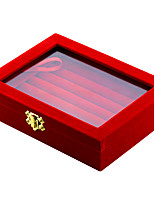 cheap -Jewelry Boxes Cufflink Box Square Black Red Fabric