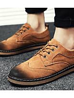 Недорогие -Для мужчин обувь Нубук Весна Осень Удобная обувь Туфли на шнуровке для Повседневные Черный Серый Верблюжий
