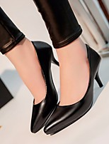 cheap -Women's Shoes PU Spring Fall Comfort Heels Stiletto Heel for Casual Black White