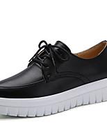 preiswerte -Damen Schuhe Leder Frühling Sommer Komfort Outdoor Flacher Absatz für Normal Draussen Weiß Schwarz