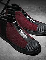 Недорогие -Для мужчин обувь Нубук Флис Зима Весна Удобная обувь Кеды для Повседневные Черный Серый Красный
