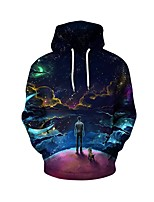 cheap -Men's Daily Hoodie Geometric Hooded Micro-elastic Polyester Long Sleeve Spring Fall