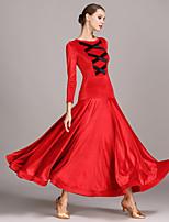 preiswerte -Für den Ballsaal Kleider Damen Aufführung Samt Geflochtene Riemchen Lange Ärmel Normal Kleid