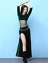 baratos -Dança do Ventre Vestidos Mulheres Treino Elastano Com Fenda Meia manga Alto Vestidos