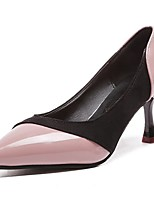 cheap -Women's Shoes PU Winter Basic Pump Comfort Heels Flared Heel Pointed Toe for Dress Pink Gray Black