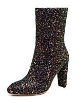 Недорогие -Для женщин Обувь Лак Зима Лето Удобная обувь Оригинальная обувь Модная обувь Ботинки Высокий каблук Заостренный носок Ботинки Сапоги до