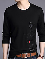 cheap -Men's Going out Casual/Daily Sweatshirt Solid Print Round Neck Micro-elastic Cotton Long Sleeves Winter Fall