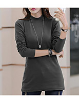 cheap -Women's Going out Street chic T-shirt,Solid Turtleneck Long Sleeve Polyester