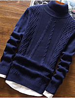 cheap -Men's Going out Regular Pullover,Solid Turtleneck Long Sleeves Polyester Winter Fall Thick Micro-elastic