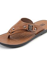 Недорогие -Муж. обувь Полиуретан Весна Осень Удобная обувь Тапочки и Шлепанцы для Желтый Коричневый