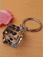 cheap -Las Vegas Themed Chrome Keychain with Crystal Dice Wedding Favor