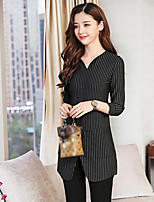 cheap -Women's Daily Casual Winter Fall T-shirt,Striped V Neck Long Sleeve Cotton Thick