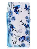abordables -Coque Pour Sony Xperia XZ1 Compact Xperia XZ1 Porte Carte Portefeuille Avec Support Clapet Motif Magnétique Coque Intégrale Papillon Dur