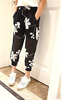 cheap -Girls' Solid Floral Pants,Polyester Summer Active Black