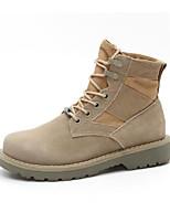 Недорогие -Для женщин Обувь Кожа Весна Осень Удобная обувь Армейские ботинки Ботинки На плоской подошве для Повседневные Верблюжий
