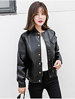 cheap -Women's Going out Street chic Fall Leather Jacket,Solid Round Neck Long Sleeve Regular PU Oversized
