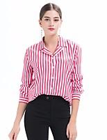 cheap -Women's Going out Casual Shirt,Striped Shirt Collar Long Sleeve Cotton