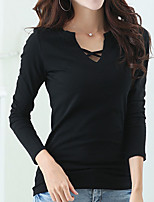 cheap -Women's Daily Casual Spring Fall T-shirt,Solid V Neck Long Sleeve Cotton