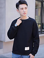 cheap -Men's Daily Going out Casual Short Pullover,Solid Round Neck Long Sleeves Polyester Winter Fall Opaque Micro-elastic