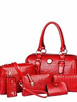 preiswerte -Damen Taschen PU Bag Set 6 Stück Geldbörse Set Knöpfe für Normal Frühling Herbst Schwarz Rote Beige Gelb Fuchsia