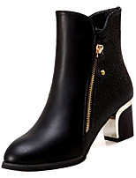 cheap -Women's Shoes PU Spring Fall Comfort Fashion Boots Boots Chunky Heel Round Toe Mid-Calf Boots for Casual Wine Black