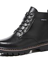 Недорогие -Для женщин Обувь Натуральная кожа Зима Осень В ковбойском стиле Модная обувь Армейские ботинки Ботинки На толстом каблуке Круглый носок