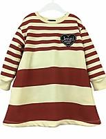 cheap -Girl's Daily Color Block Stripes/Ripples Dress,Cotton Spring Fall Long Sleeves Casual Red