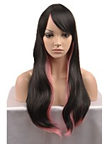cheap -New European and American fashion wig long paragraph Black and Pink gradient wave curvature high temperature wire wig