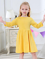 cheap -Girl's Daily Solid Dress,Cotton Spring Fall Long Sleeves Casual Active Yellow