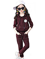 cheap -Girls' Daily Sports Solid Striped Patchwork Clothing Set,Cotton Polyester Spring Fall Long Sleeve Casual Street chic Wine Green