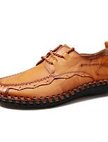 baratos -Homens sapatos Pele Real Courino Primavera Verão Conforto Oxfords para Casual Preto Amarelo Vinho Castanho Claro