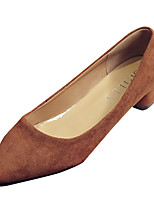cheap -Women's Shoes PU Spring Fall Comfort Heels Low Heel for Outdoor Beige Brown
