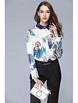 cheap -Women's Work Sophisticated All Seasons Shirt,Print Shirt Collar Long Sleeve Polyester Opaque