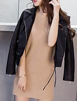 Недорогие -Повседневные Зима Кожаные куртки V-образный вырез,На каждый день Однотонный Длинная Длинные рукава,Полиуретановая,Крупногабаритные