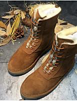 abordables -Femme Chaussures Vrai cuir Fourrure Hiver Automne Confort Bottes de neige Bottes Talon Plat Bottes Mi-mollet pour Décontracté Noir Marron