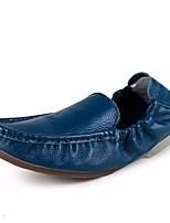 Недорогие -Муж. обувь Кожа Весна Осень Удобная обувь Мокасины и Свитер для Повседневные Оранжевый Бежевый Синий